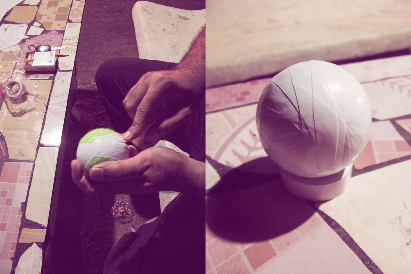 Caught on tape: a tennis ball is readied for a night match