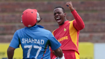 Wellington Masakadza celebrates after dismissing Mohammad Shahzad