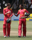 Craig Ervine and Tinotenda Mutumbodzi walk off after securing the eight-wicket win, Zimbabwe v Afghanistan, 1st ODI, Bulawayo, October 16, 2015