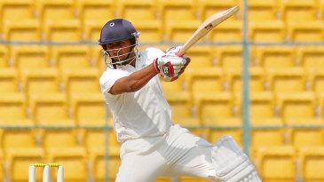 Ganesh Satish sends one rocketing through the off side