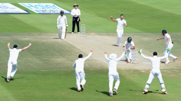 Pakistan's opener Shan Masood plays onto his own stumps
