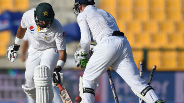 Misbah-ul-Haq was bowled trying to attack Moeen Ali