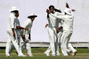 Hyderabad surround CV Milind after he dismisses Paras Dogra for a duck, Himachal Pradesh v Hyderabad, Ranji Trophy 2015-16, Group C, 3rd day, Dharamsala, October 17, 2015
