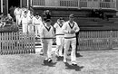 Jack Cheetham leads his team out, England v South Africa, 1st Test, Trent Bridge, 3rd day, June 11, 1955
