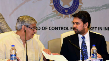 Shashak Manohar and Anurag Thakur during the working committee meeting