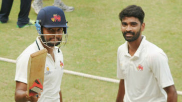 Balwinder Singh Sandhu and Vishal Dabholkar after their team's close win