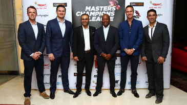 Graeme Swann, Graeme Smith, Virender Sehwag, Brian Lara, Michael Vaughan and Azhar Mahmood at a MCL promotional event