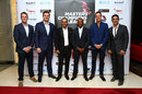 Graeme Swann, Graeme Smith, Virender Sehwag, Brian Lara, Michael Vaughan and Azhar Mahmood at a MCL promotional event, Dubai, October 19, 2015