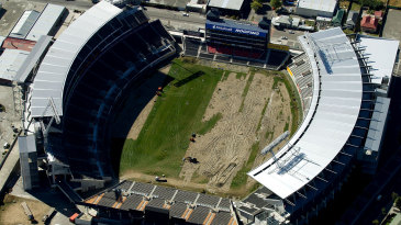 Lancaster Park, a year after being damaged by the earthquake in Christchurch