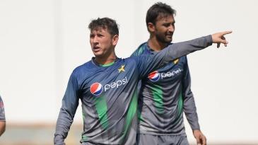 Yasir Shah and Bilal Asif take part a training session