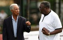 Garry Sobers has a chat with Clive Lloyd, Colombo, October 21, 2015