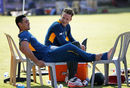 Quinton de Kock and David Miller take a break during a practice session, Chennai, October 21, 2015
