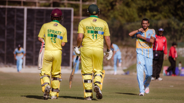 Shraddhanand College fast bowler Abhishek Vats in the midst of his wicket-taking spell against University of Technology Sydney