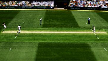 James Anderson bowls to Justin Langer