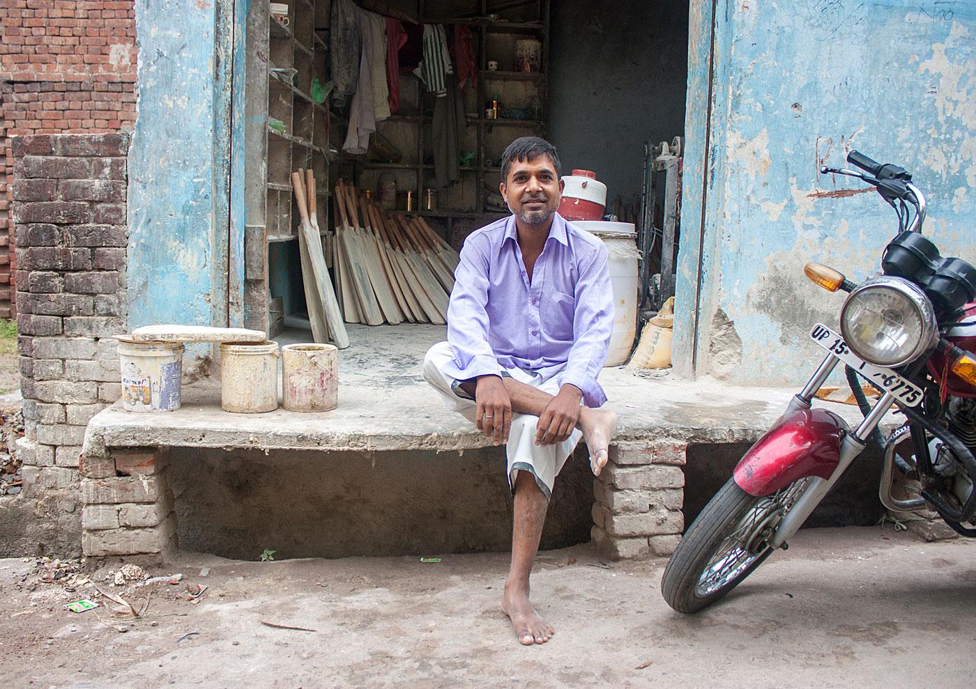 Home-cum-office: a bat-maker in Hanuman Puri, Meerut