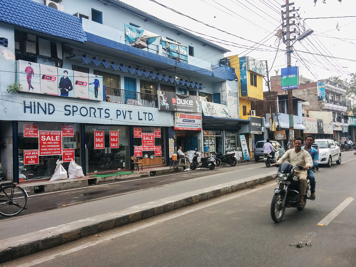 Spoilt for choice: sports shops dot Suraj Kund Road in Meerut