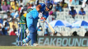 Suresh Raina flicks it into the leg side