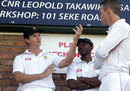 Mark Vermeulen talks to team-mates ahead of his Test return, Harare, August 9, 2014
