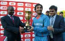 Asghar Stanikzai is handed the series trophy, Zimbabwe v Afghanistan, 5th ODI, Bulawayo, October 24, 2015