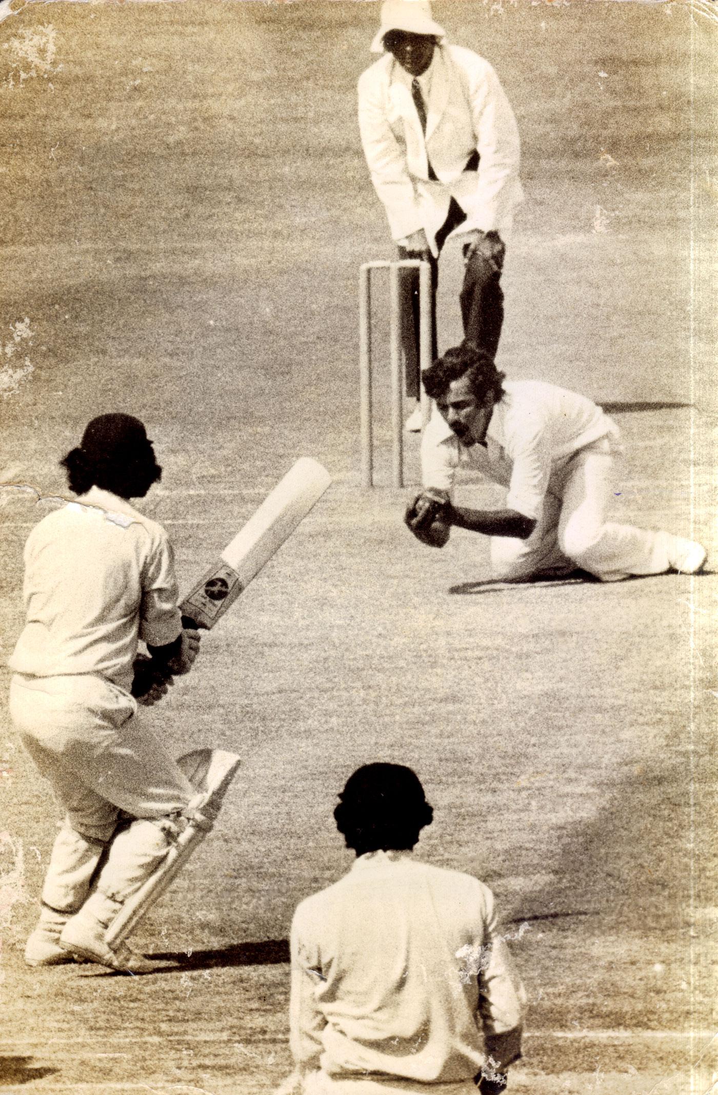 Ramnarayan catches Gundappa Viswanath off his own bowling in a Ranji game in 1976