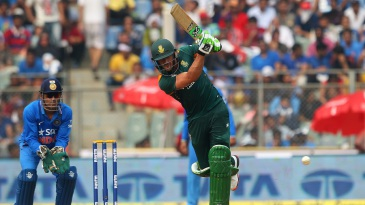 Faf du Plessis drives down the ground