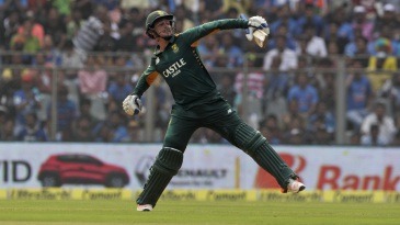 Quinton de Kock is pumped after reaching a century