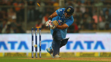 Suresh Raina was bowled around his legs