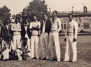 Inter Varsity cricket in Lucknow. Sujit Mukherjee, standing second from right, with team-mates, December 1947