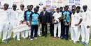 The victorious Sri Lankan players with Garry Sobers and Michael Tissera, Sri Lanka v West Indies, 2nd Test, P Sara Oval, Colombo, 5th day, October 26, 2015