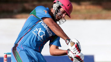 Najibullah Zadran drives during his unbeaten 37