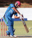 Najibullah Zadran drives during his unbeaten 37, Zimbabwe v Afghanistan, 1st T20I, Bulawayo, October 26, 2015