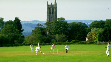 General view of a village cricket match in Blagdon, Somerset