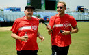 Stuart Broad interviews BBC commentator Jonathan Agnew as they take part in the Sport Relief mile in Chittagong, March 23, 2014