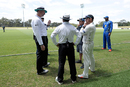 Brendon McCullum and New Zealand coach Mike Hesson talk to match officials, Cricket Australia XI v New Zealand, Sydney, 2nd day, October 30, 2015