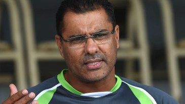 Waqar Younis talks to the media