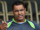 Waqar Younis talks to the media, Lahore, April 10, 2015