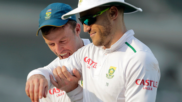 AB's hunger pangs: AB de Villiers and Faf du Plessis joke around during the tour game