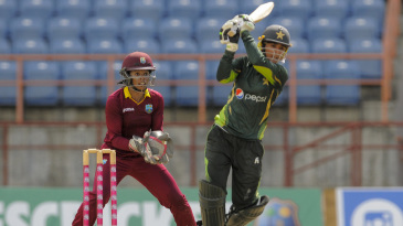 Bismah Maroof drives down the ground