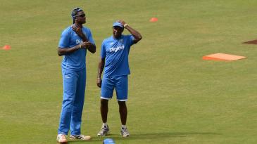 West Indies coach Eldine Baptiste and captain Jason Holder have a chat