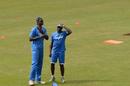 West Indies coach Eldine Baptiste and captain Jason Holder have a chat, Sri Lanka v West Indies, 1st ODI, Colombo, November 1, 2015