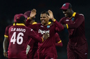 Sunil Narine celebrates with his team-mates after dismissing Shehan Jayasuriya, Sri Lanka v West Indies, 1st ODI, Colombo, November 1, 2015