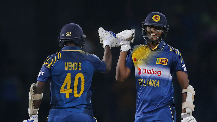 Ajantha Mendis and Suranga Lakmal celebrate Sri Lanka's narrow victory over West Indies