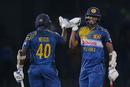 Ajantha Mendis and Suranga Lakmal celebrate Sri Lanka's narrow victory over West Indies, Sri Lanka v West Indies, 1st ODI, Colombo, November 1, 2015
