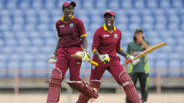 Kycia Knight and Kyshona Knight celebrate West Indies women's dramatic win