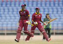 Kycia Knight and Kyshona Knight celebrate West Indies women's dramatic win, West Indies v Pakistan, 3rd Women's T20, Grenada, November 2, 2015