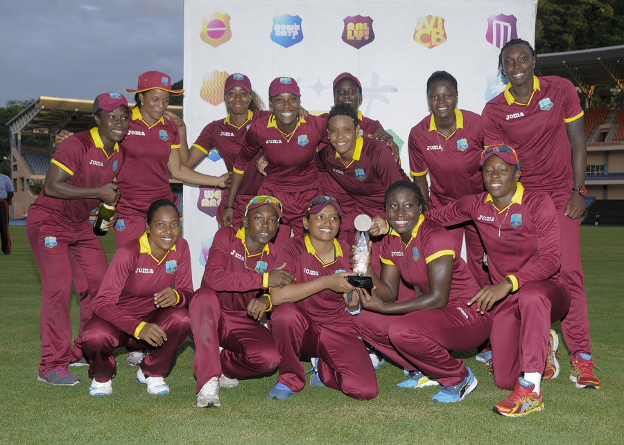 West indies women pose with the series trophy cricket photo espn