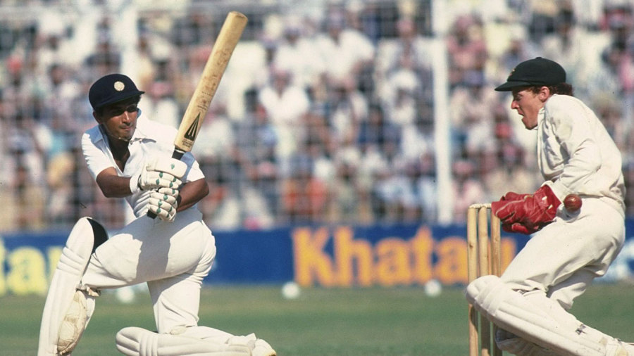 Sunil Gavaskar sweeps during his 123