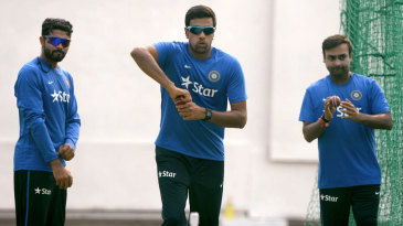 India's spin trio of R Ashwin, Amit Mishra and Ravindra Jadeja take part in a training session