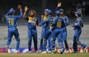 Lasith Malinga celebrates with his team-mates, Sri Lanka v West Indies, 2nd ODI, Colombo, November 4, 2015