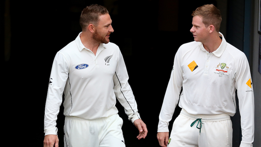 Brendon McCullum and Steven Smith chat ahead of their teams' first Test in Brisbane